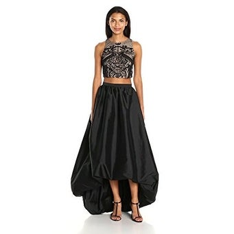 62cc0e80 Shop Adrianna Papell Women's Two Piece Halter Beaded Top with High Low  Taffeta Skirt - Free Shipping Today - Overstock - 20263490