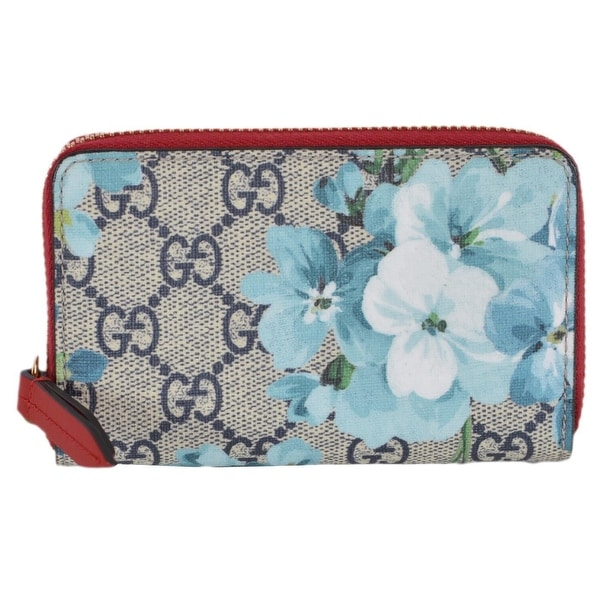 70ba711176b0 New Gucci 421310 GG Blooms Supreme Coated Canvas Zip Around Card Case Wallet