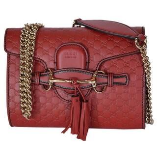 Gucci 449636 Red Micro Gg Guccissima Leather Mini Emily Crossbody Purse 7 X 5