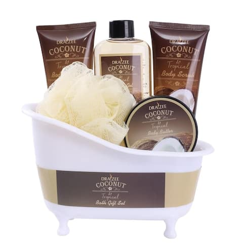 Draizee Spa Gift Basket With Refreshing Coconut Fragrance Luxury Bath & Body Set Includes Natural Shower Gel Body Butter