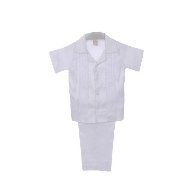 11a3e3817 Shop Rain Kids Baby Boys White Shantung Silk Guayavera Shirt Stole Pants Baptism  Set 6-12M - Free Shipping Today - Overstock - 23062053
