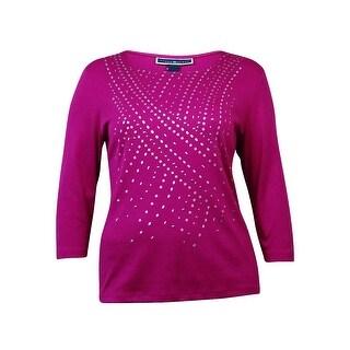 Karen Scott Women's Metallic Print Studded Knit Top