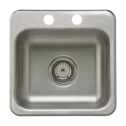 "Sterling B155B-2 15"" Single Basin Drop In Stainless Steel Bar Sink with SilentShield -"