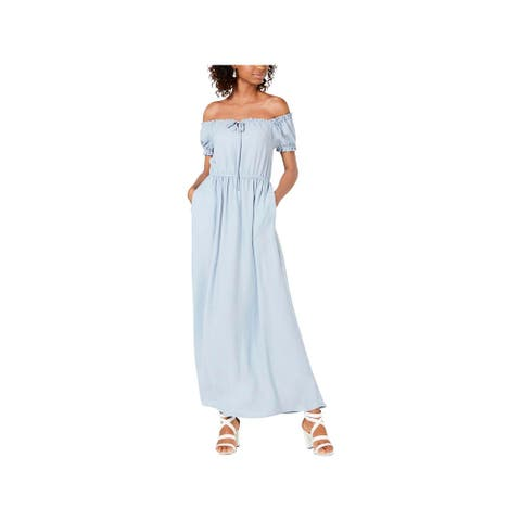 Speechless Womens Maxi Dress Off-The-Shoulder Chambray