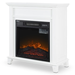 "BELLEZE 18"" Adjustable Setting Freestanding Tempered Glass Electric Fireplace heater w/ Remote Control"