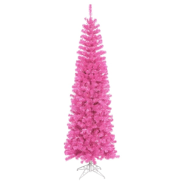 "6.5' x 27"" Pre-Lit Sparkling Pink Tinsel Artificial Christmas Tree - Pink Dura Lights"