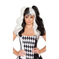 Black And White Harlequin Wig, Pigtail Wig - BLACK/WHITE - One Size Fits most
