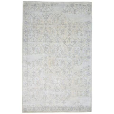 "One of a Kind Hand-Tufted Americana 5' x 8' Floral & Botanical Wool Grey Rug - 5'1""x8'1"""