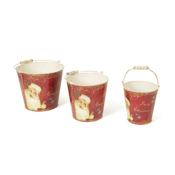 Set of 3 Retro Santa Claus Tall Vintage Style Decorative Christmas Buckets