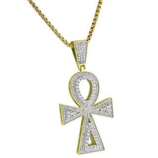 "Solitaires Ankh Cross Pendant 14k Gold Tone Lab Diamond Charm Chain 24"""