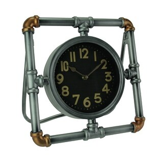 Industrial Silver and Copper Metal Steampunk Pipe Frame Standing Clock