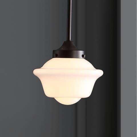 "Kurtz 7.25"" Adjustable Drop Metal/Glass LED Pendant, Oil Rubbed Bronze by JONATHAN Y"