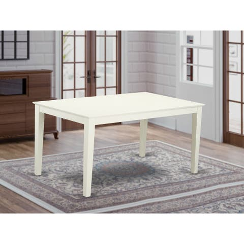 "Capri Rectangular dining table 36""x60"" with solid wood top In Linen White Finish - Off White"