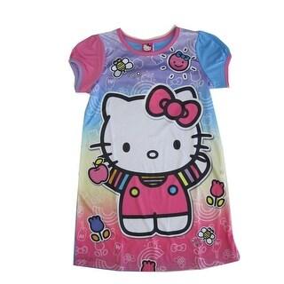 cd4d80e54 Sanrio Little Girls Pink Blue Hello Kitty Print Short Sleeved Nightgown 6