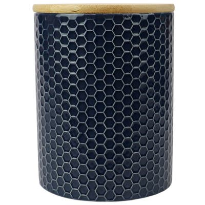 Honeycomb Medium Ceramic Canister, Navy
