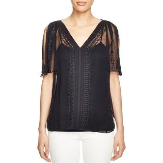 Elie Tahari Womens Blouse Sheer Embroidered