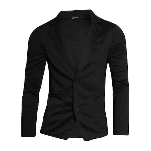 Men Notched Lapel Solid Color Pockets Front Long Sleeve Knit Blazer