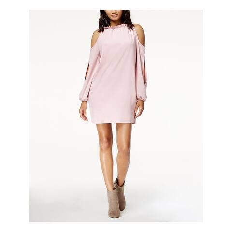 KENSIE Womens Pink Long Sleeve Halter Mini Evening Dress Size L