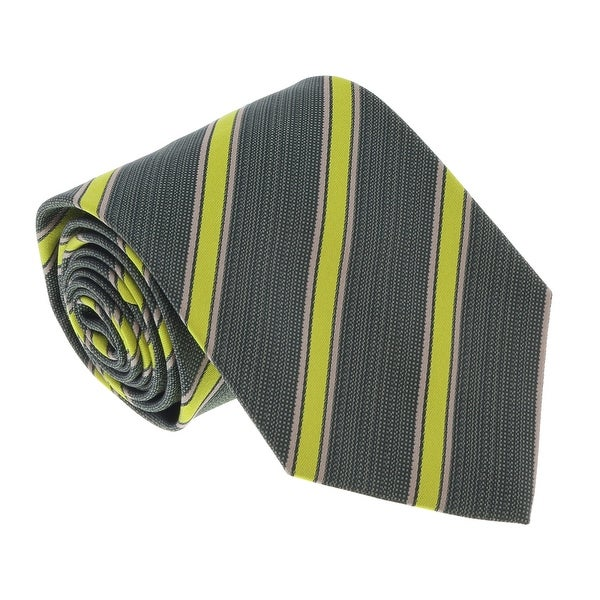 Missoni U4543 Olive/Lime Regimental 100% Silk Tie - 60-3