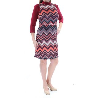 Womens Maroon Black Long Sleeve Above The Knee A-Line Casual Dress Size: L