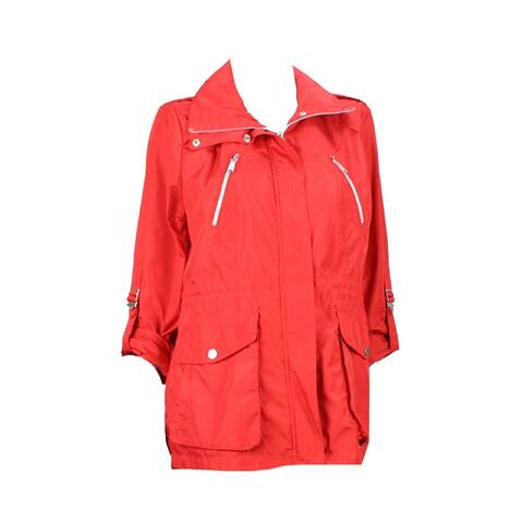 Bcbgeneration Red Cinched Waist Hidden Hood Jacket L - X-SMALL