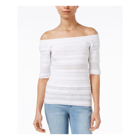 MAISON JULES Womens White Short Sleeve Boat Neck Sweater Size XL
