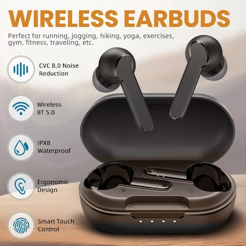 Coutlet MBits S Bluetooth Wireless Earbuds 5.0, Punchy Bass/CVC 8.0/IPX8 Waterproof/35Hrs/USB-C Charging/L/R Modes Black