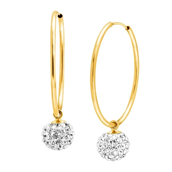 Crystal Ball Drop Hoop Earrings in 14K Gold