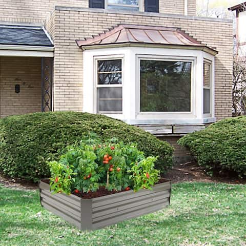 "48""Iron Planting Frame Dark Raised Garden Beds Coffee/Green"