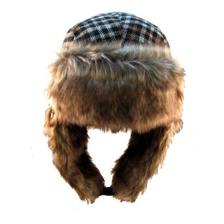 Plaid Faux Fur Trooper Hat Fargo