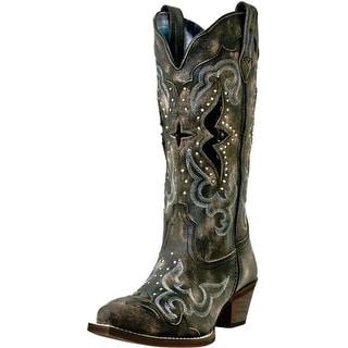 Laredo Western Boots Womens Lucretia Snake Print Inlay Black Tan 52133