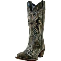 Laredo Western Boots Womens Lucretia Snake Print Inlay Black Tan