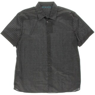 Perry Ellis Mens Pattern Short Sleeves Button-Down Shirt - L