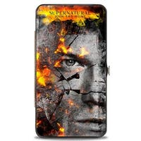 Supernatural Sam + Dean Broken Faces Close Up Grays Flames Hinged Wallet - One Size Fits most