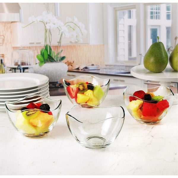10 1//2 Ounce Set of 4 Mini Colored Glass Wavy Serving//Prep Bowls