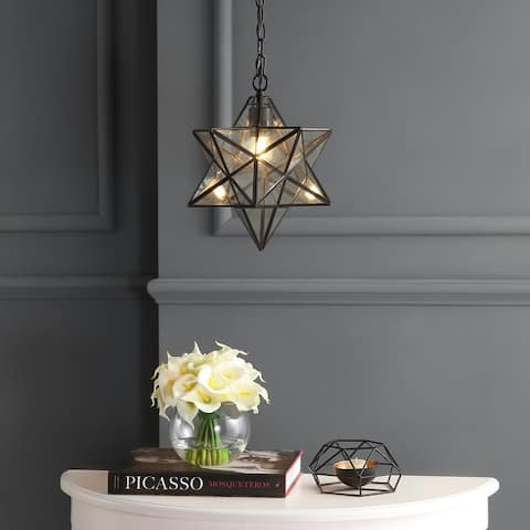 "Stella 12"" Moravian Star Glass Pendant by JONATHAN Y - 1 Light"