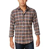 Tallia Orange Slim Fit Plaid Check Long Sleeve Shirt Multi-Color