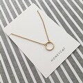 Honeycat Small Open Circle Charm Necklace (Delicate Jewelry) - Thumbnail 2