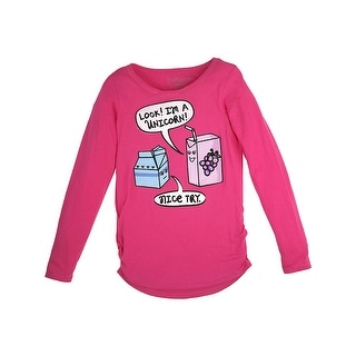 Girl's Look Shirred Sideseam LS Tee - Look/Racy Pink - Size - XS