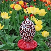 Sunnydaze Outdoor Red Mosaic Glass Flower Hanging Hummingbird Feeder - 7-Inch