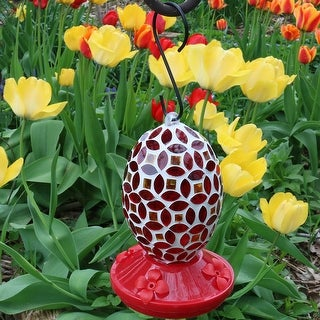 Sunnydaze Red Mosaic Glass Flower Hummingbird Feeder 7 Inch