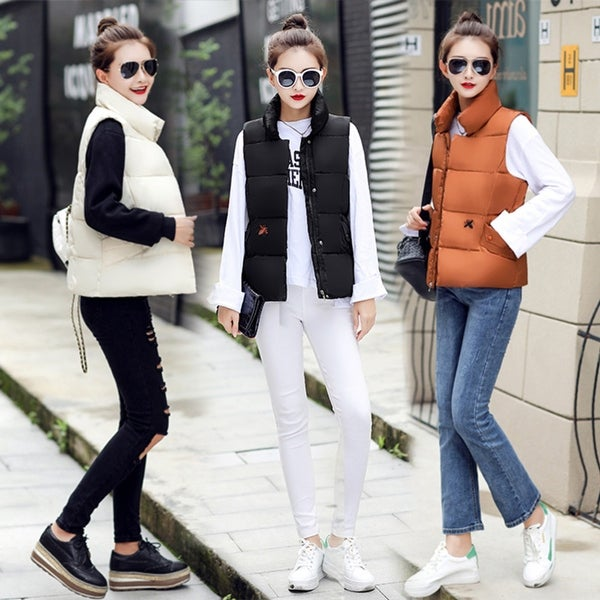Embroidered down cotton short section Female vest slim collar coat