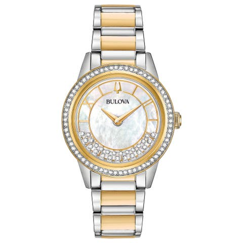 Bulova Women's 98L260 Turnstyle Two-tone Stainless Floating Crystals Bracelet Watch