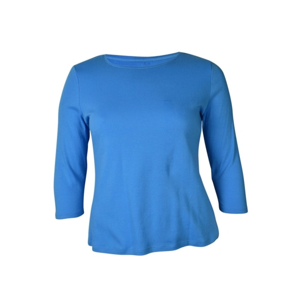 Charter Club Women's 3/4 Sleeve Solid Crewneck Knit Top