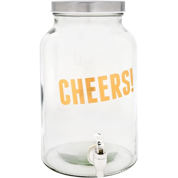 Palais Glassware High Quality 'Boisson' Beverage Dispenser - 1.5 Gallon Capacity - (CHEERS! Gold Print). Opens flyout.