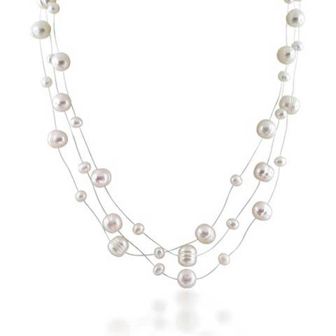 Multi Strand Fishing Line White Freshwater Cultured Pearl Illusion Necklace For Women For Wedding For Bride Maid