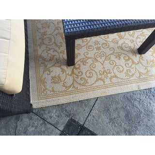 Safavieh Resorts Scrollwork Natural/ Terracotta Indoor/ Outdoor Poolside Rug (4' x 5'7)