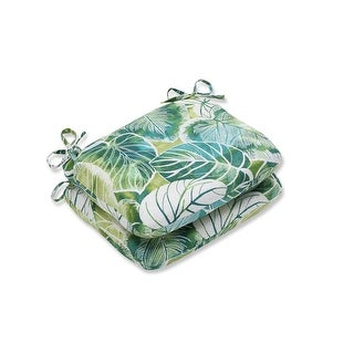 """Set of Two """"Tropical Oasis"""" Iguana and Blue Green Rounded Corners Seat Cushion 18.5"""""""