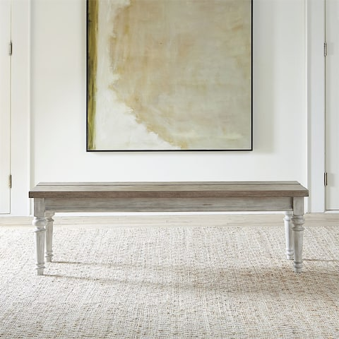 Heartland Antique White with Tobacco Top Bench