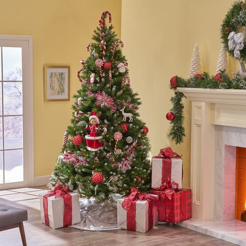 7.5-ft Spruce Pre-Lit or Unlit Artificial Christmas Tree with Frosted Branches Red Berries Pinecones by Christopher Knight Home